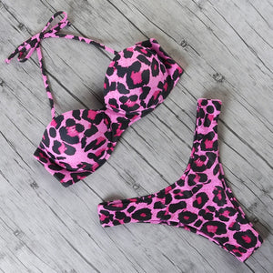 Two Piece Bandeau Animal Print Bikini
