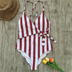 V Neck Front Tie One Piece Bathing Suit