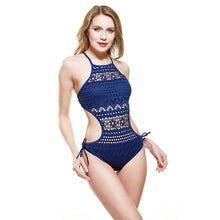 Load image into Gallery viewer, V Neck Front Tie One Piece Bathing Suit