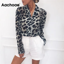 Load image into Gallery viewer, Long Sleeve Leopard Print Collared Blouse