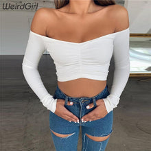 Load image into Gallery viewer, Off The Shoulder Ruched Long Sleeve Crop Top
