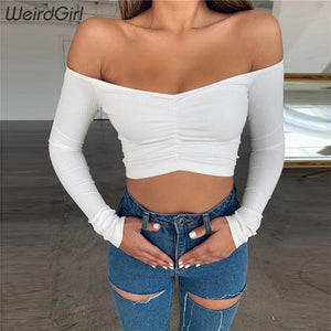 Off The Shoulder Ruched Long Sleeve Crop Top