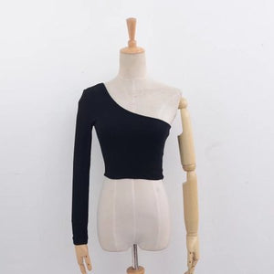 Ribbed One Shoulder Long Sleeve Crop Top