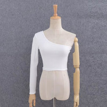 Load image into Gallery viewer, Ribbed One Shoulder Long Sleeve Crop Top
