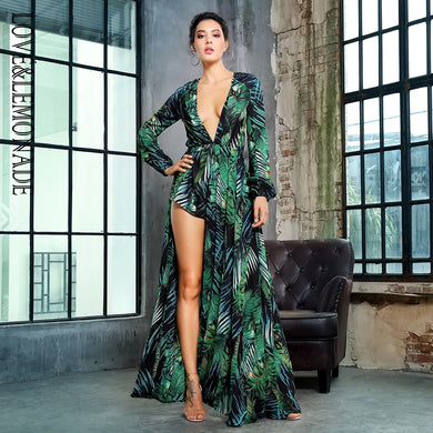 Long Sleeve Leaf Print Deep V-Neck Chiffon Romper Dress