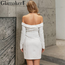 Load image into Gallery viewer, Off The Shoulder Belted Blazer Dress