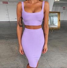 Load image into Gallery viewer, Two Piece Bandage Crop Top and Skirt