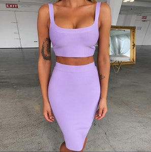 Two Piece Bandage Crop Top and Skirt