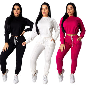 Long Sleeve Crop Top Pullover Drawstring Tracksuit Two Piece Matching Set