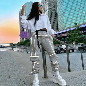 Reflective Striped Comfy Sweatpants