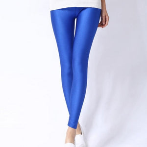 Shiny Spandex Leggings Solid Color