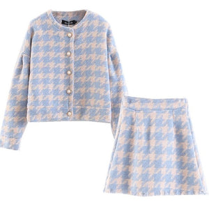 Two Piece Matching Plaid Set Pearl Button Jacket With Mini Skirt