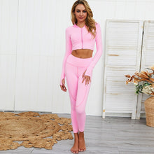 Load image into Gallery viewer, 2 PCS Long Sleeve High Waist Yoga Fitness Sports Suit