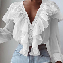 Load image into Gallery viewer, Long Sleeve V-Neck Ruffle Blouse