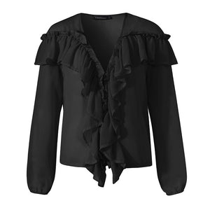 Long Sleeve V-Neck Ruffle Blouse