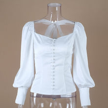 Load image into Gallery viewer, White Long Sleeve Button Up Blouse