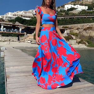 Two Piece Matching Set Crop Top Maxi Skirt
