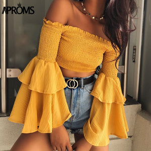 Off The Shoulder Ruffle Flare Sleeve Crop Top