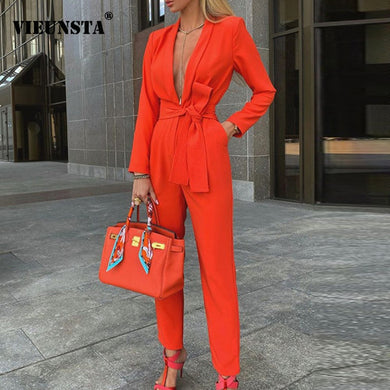 Deep V Neck Long Sleeve Jumpsuit