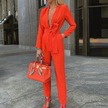 Load image into Gallery viewer, Deep V Neck Long Sleeve Jumpsuit