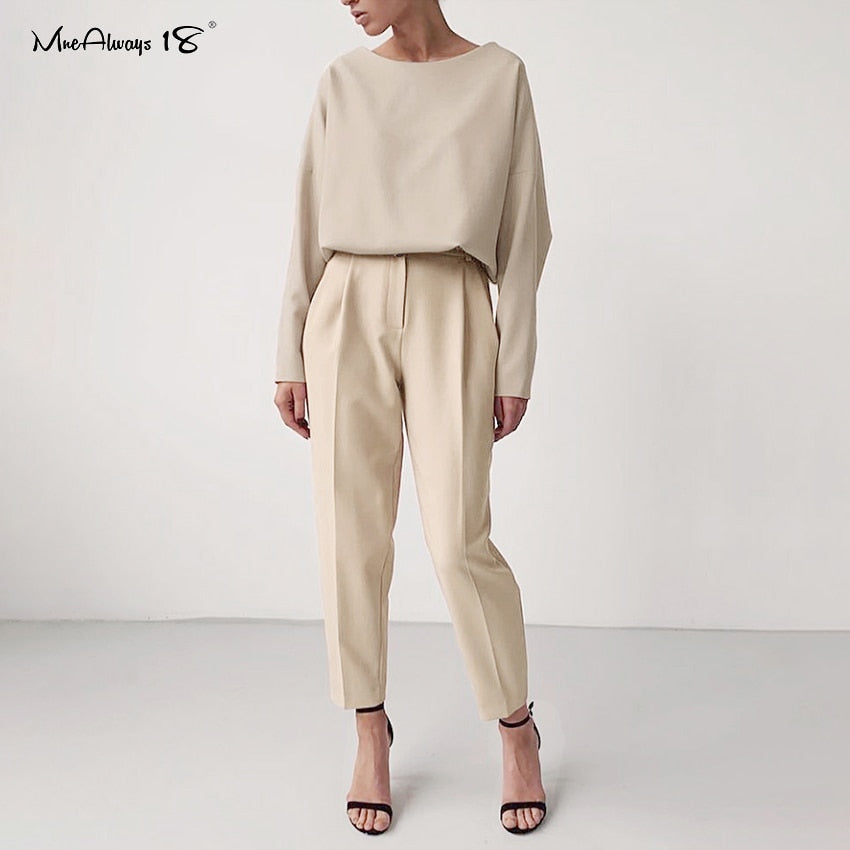 Two Piece Long Sleeve Top and Office Pants