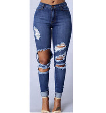 Load image into Gallery viewer, Ripped Blue High Waist Jeans