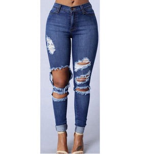 Ripped Blue High Waist Jeans