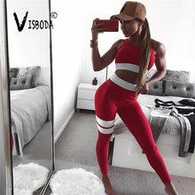Load image into Gallery viewer, Fitness Sports Bra & High Waist Striped Leggings Two Piece Set