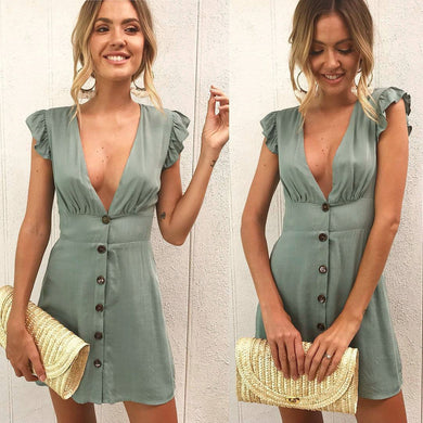 V Neck Button Up Mini Dress