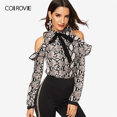 Tie Neck Cold Shoulder Long Sleeve Blouse Top