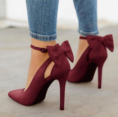 Suede Pointed Toe Bow Heels