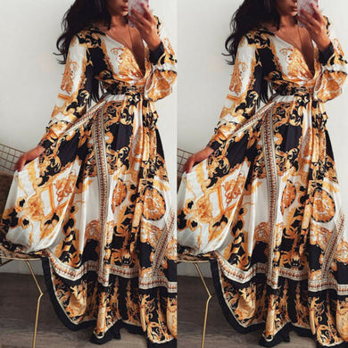Print Long Dress V-neck Long Sleeve