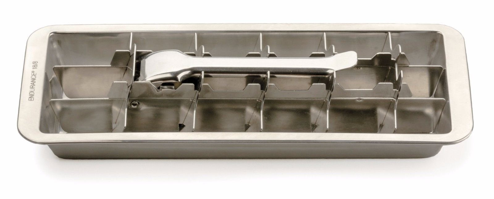 Endurance Stainless Steel 18 Slot Frozen Ice Cube Tray Form Easy Release Handle