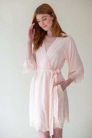 Bridesmaid Kimono Robe with Lace