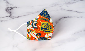 Comfort-Fit Face Mask: Orange and Blue Rose Gold