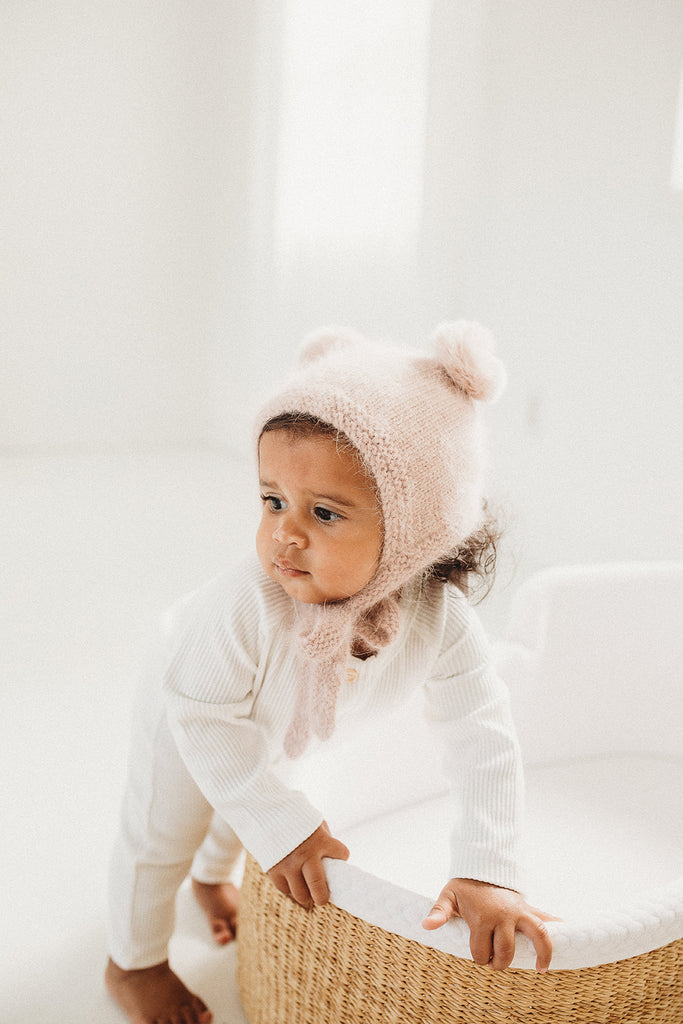 Dusty Pink Cashmere Teddy Hat