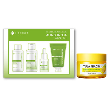 AHA. BHA. PHA Secret Kit + Yuja Niacin Brightening Sleeping Mask Set