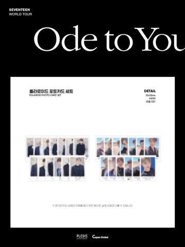 [SEVENTEEN] POLAROID PHOTO CARD SET / 2019 WORLD TOUR 'ODE TO YOU'