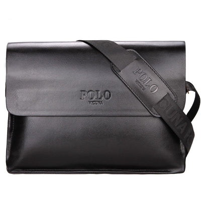 POLO Business Casual Leather Messenger Bag Black
