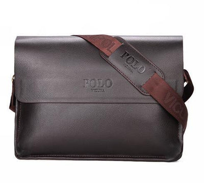 POLO Business Casual Leather Messenger Bag Brown