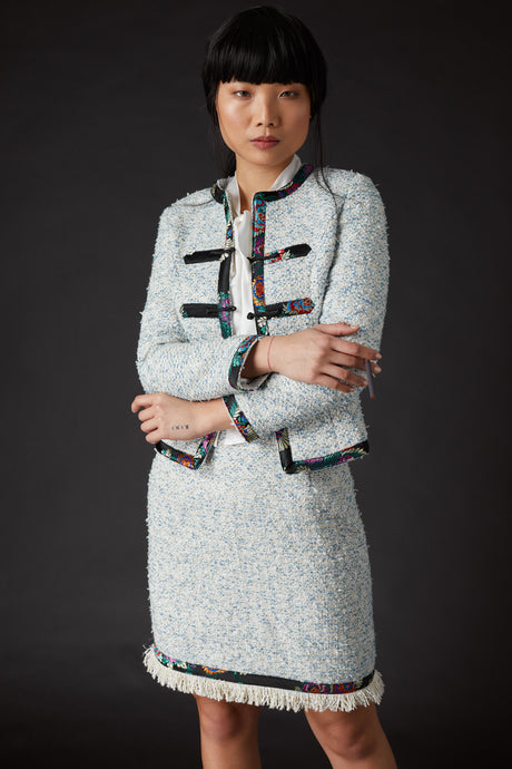 Chelsea Tang Tweed Jacket Blue