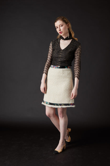 Chelsea Tang Tweed Skirt White