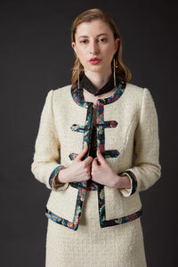 Chelsea Tang Tweed Jacket White