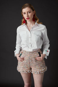 Chelsea Tang Tweed Shorts Multi
