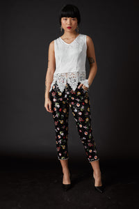 Derling Embroidered Trousers Black