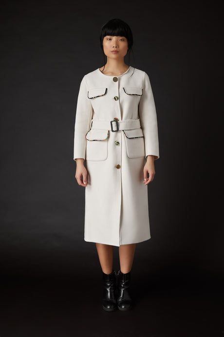 Lin Military Coat White