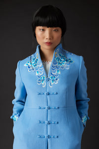 Yanxi Embroidered Coat Blue