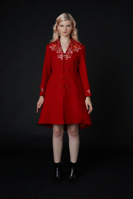 Yanxi Embroidered Coat Red