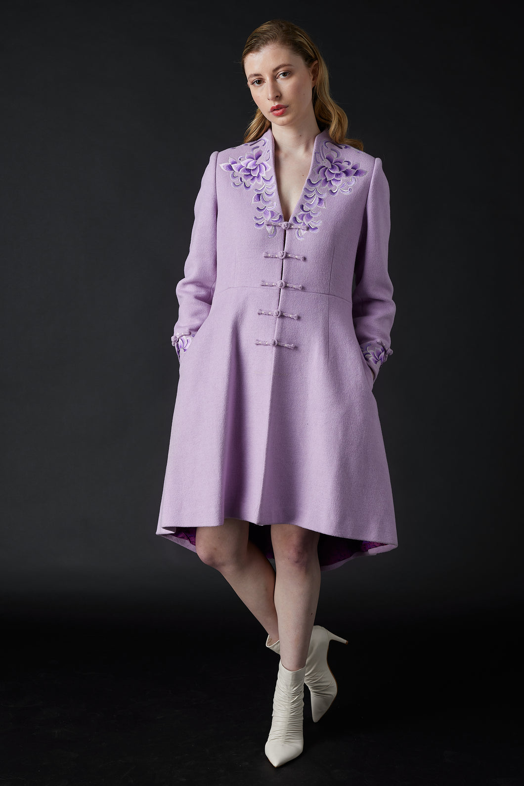 Yanxi Embroidered Coat Light Purple