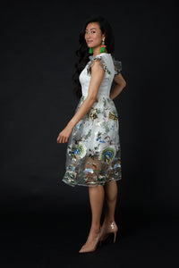 Short-Sleeved QiaoChu Embroidered Peacock Dress